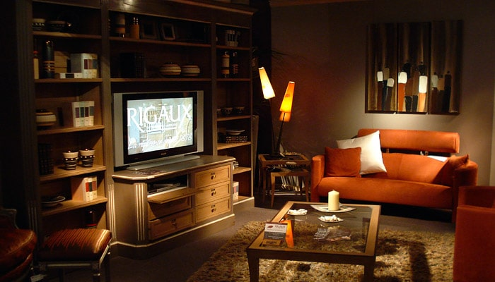 Klassieke woonkamer met tv meubel van rigaux