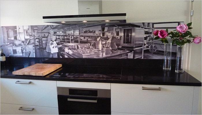 Originele keuken met spatwand foto paneel