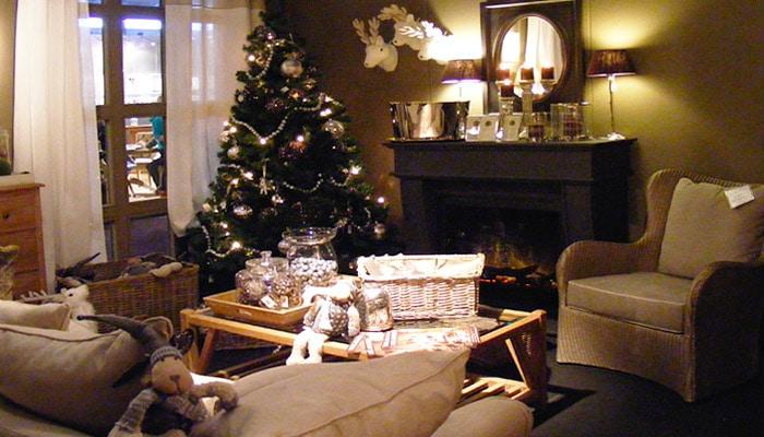 country woonkamer in kerstsfeer
