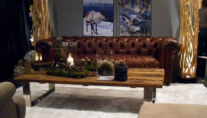 chesterfield zetel bruin leder in cottage stijl