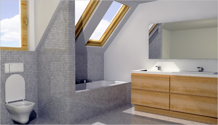 moderne badkamer et mosaiek tegels