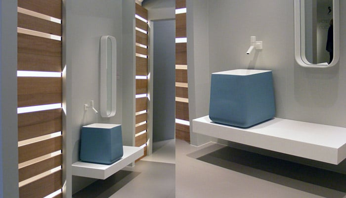 design badkamermeubel van Marcke opbouw lavabo met muurkraan