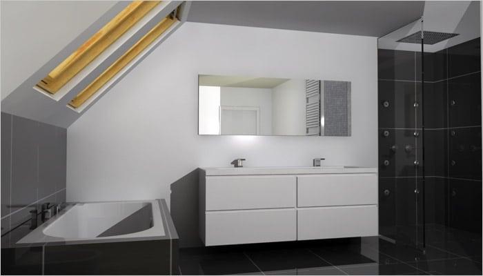 Badkamer Ideeen Wit: Wit glasmozaiek met mat zwarte vloer en grote ...