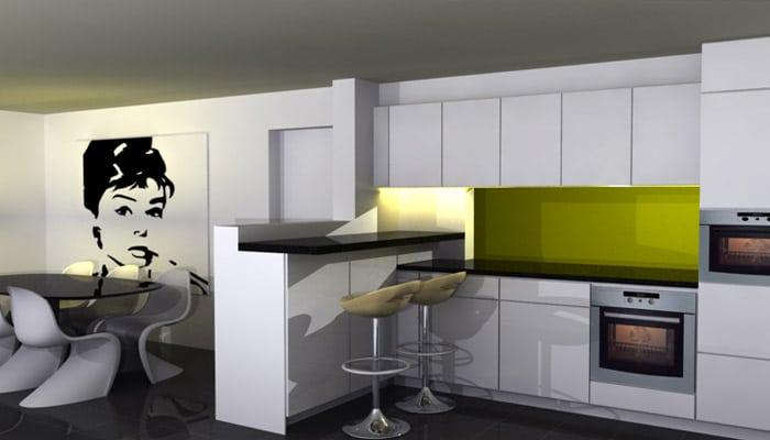 kleine keuken met eetplaats en toog