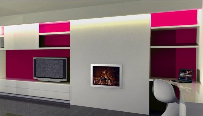 wit tvmeubel met roze accentwand en haardvuur