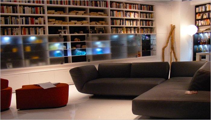 moderne woonkamer met ingebouwde bibliotheek