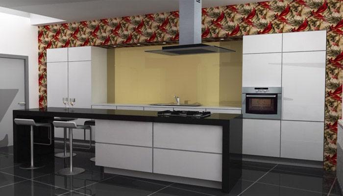 keukens met originele toets door behangpapier te plakken op de wanden
