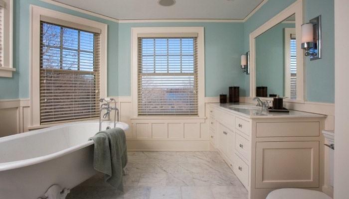 Cottage badkamers voorbeelden en inrichting idee n voor de badkamer - Keuken blauw en wit ...