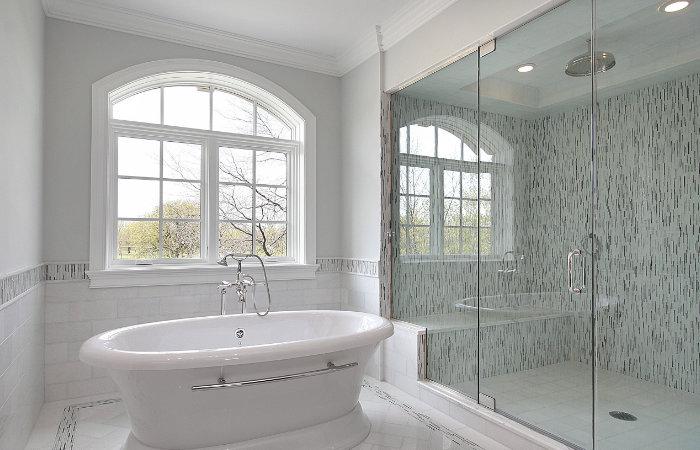 landelijke badkamermeubels met grote douche