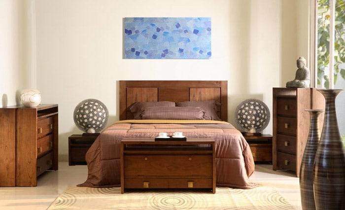 hedendaagse warme houten slaapkamer