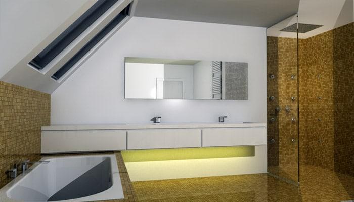 moderne badkamer met zwevend badkamermeubel en mozaiek tegels