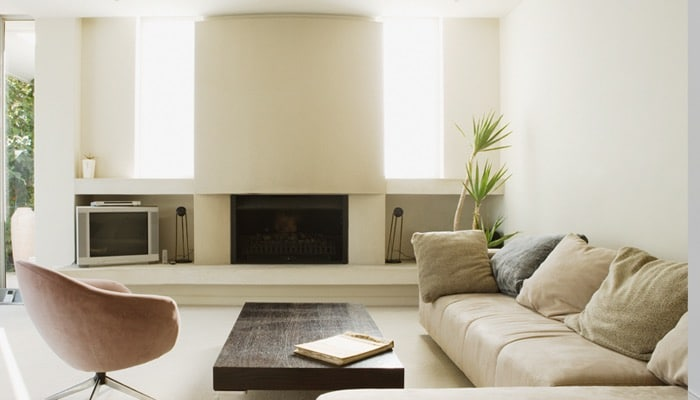 Moderne schouw met tv meubel