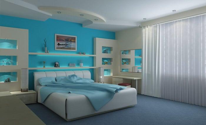 turquiose slaapkamer in moderne stijl