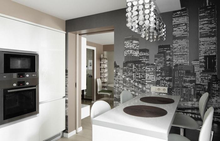 Zwart-wit behang keuken